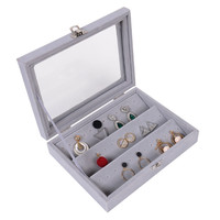 Gray Velvet Studs Earring Organizer Jewelry Storage Box Display Gift Case With Glass Grid