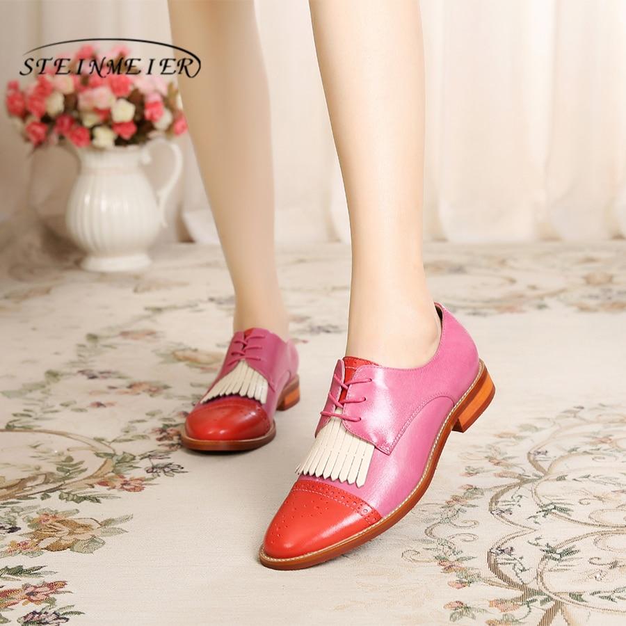 rosa Wohnungen Schaffell braun rot f handgefertigt Vintage Yinzo Damen Schuhe Designer 100echtes Halbschuhe Leder VUSzpM