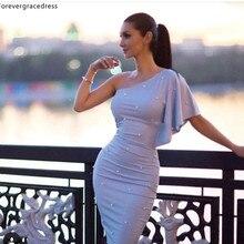 Sheath One Shoulder Cocktail Dresses 2019 Arabic Dubai Style