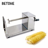 BETOHE Potato Spiral Cutter Stainless Steel Manual Fruit Vegetable Spiralizer Spiral Potato Cutter Professional Kitchen Tools