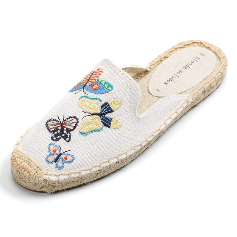 Tienda Soludos Women's Simple Mule Breathable Flat Espahemp Summer Rubber Cotton Fabric Floral Drilles Shoes, Pure Color Mules