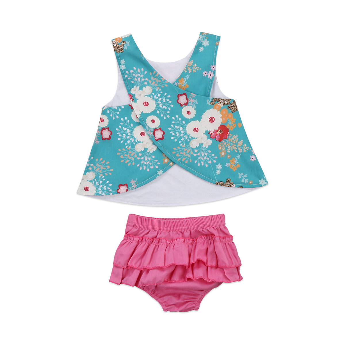 Toddler Girls Kids Baby Girls Clothes Sets Tops Vest Sleeveless Flower Cute Shorts Bottoms 2pcs Outfits Set Clothing hot toddler baby girls summer clothing sets bow sunflower vest shirt shorts kids outfits 1 4y x16
