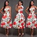 2017 Africano Vestido de Vestidos Para Las Mujeres 201 Otoño de La Manera Nueva Impresión Femenina Con Cuello En V Que Restaura Maneras Antiguas de La Cintura Ropa