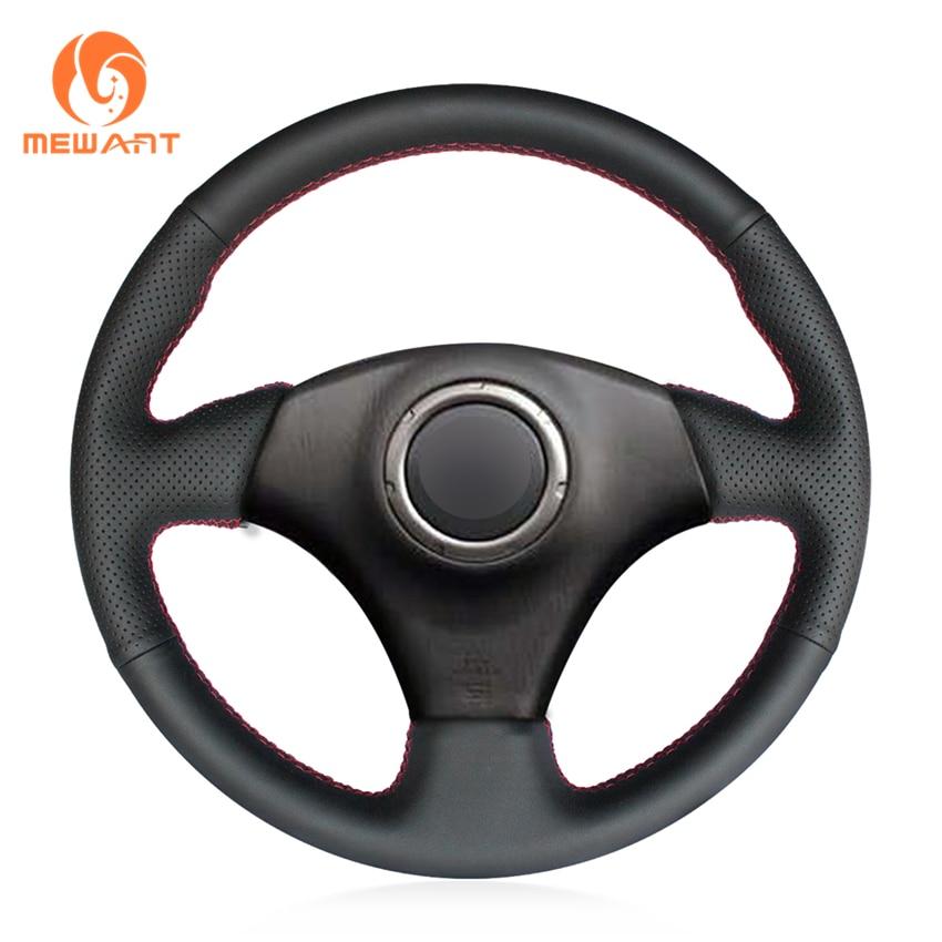 MEWANT Black Genuine Leather Steering Wheel Cover for Toyota RAV4 2003-2005 Celica 2003 Caldina 1995-2002 Lexus IS200 300