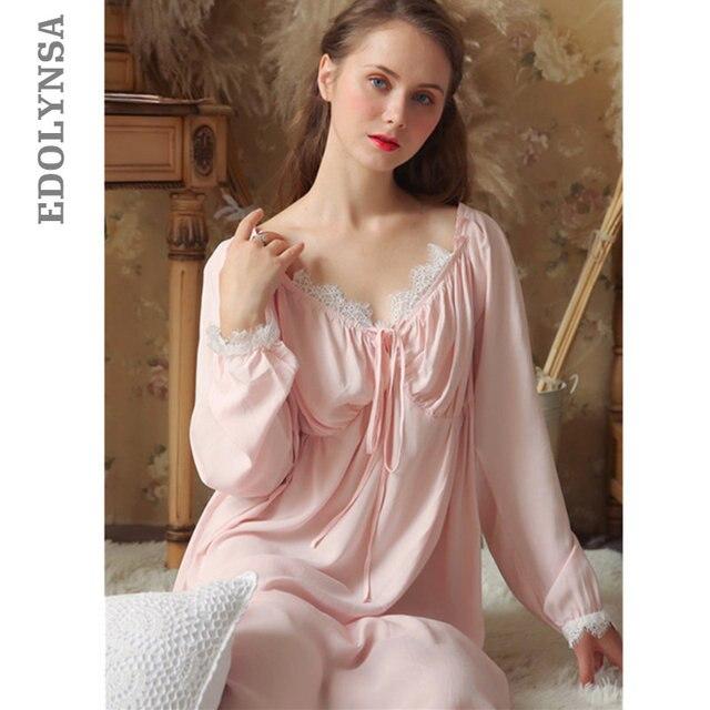 Dài Bông Trắng Cổ V Gợi Cảm Ngủ Đêm Áo Mặc Nhà Vintage Váy Ngủ Công Chúa Đồ Ngủ 2020 Nữ Váy Ngủ T350