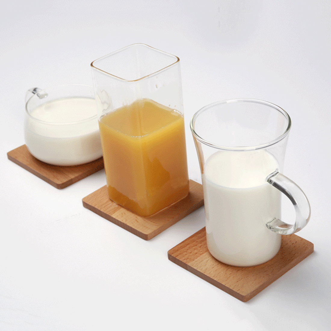 Eshow 1pcs Japanese Style Heat Resistent Placemat Beech Coasters Square  Shape Solid Wood Cup Mat Table Mat Home Bar Tool