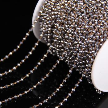Collar de plata de cristal facetado Rondelle Rosario cadena, 2x3mm cristal perla enlace Alambre de latón envuelto Cadena, DIY mujeres collar pulseras