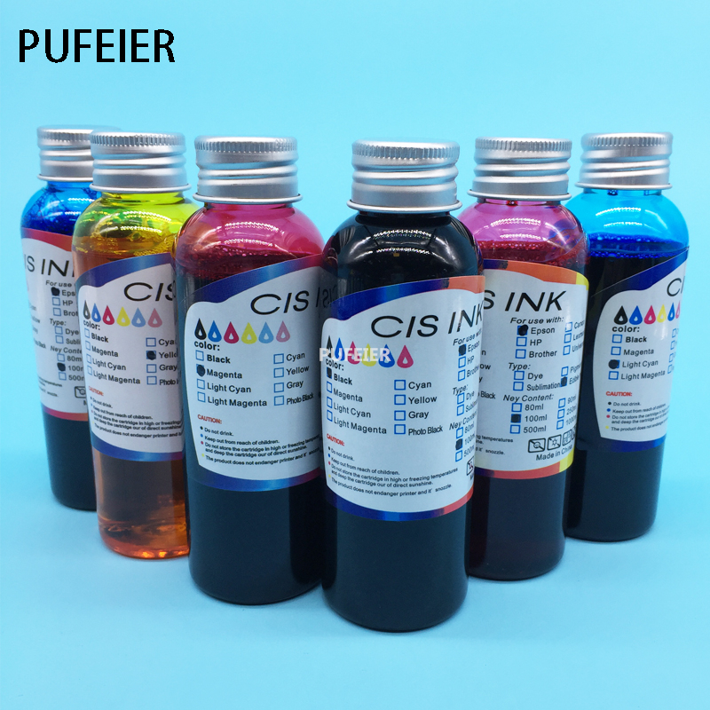 100ML x 6PCS T0801-T0806 Inkjet Edible Ink For Epson PX700W PX710W PX800FW PX810 PX650 PX50 PX660 PX720WD PX730WD digital inkjet printing machine coffee printer with edible ink