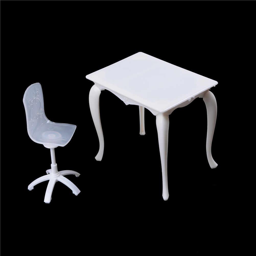 Śliczne Dollhouse miniaturowe meble krzesło biurko szkolne/komputer PC stół z lampą zabawka dla dzieci domek do zabawy dla dziewczynki akcesoria dla lalek