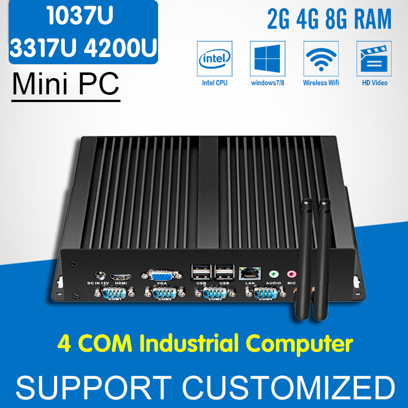 Fanless Industrial Computer Intel Core i5 4200U 3317U Mini PC Celeron 1037U 4 COM 1 LAN Windows Mini Desktop 8*USB 4*RS232 HDMI цена 2016