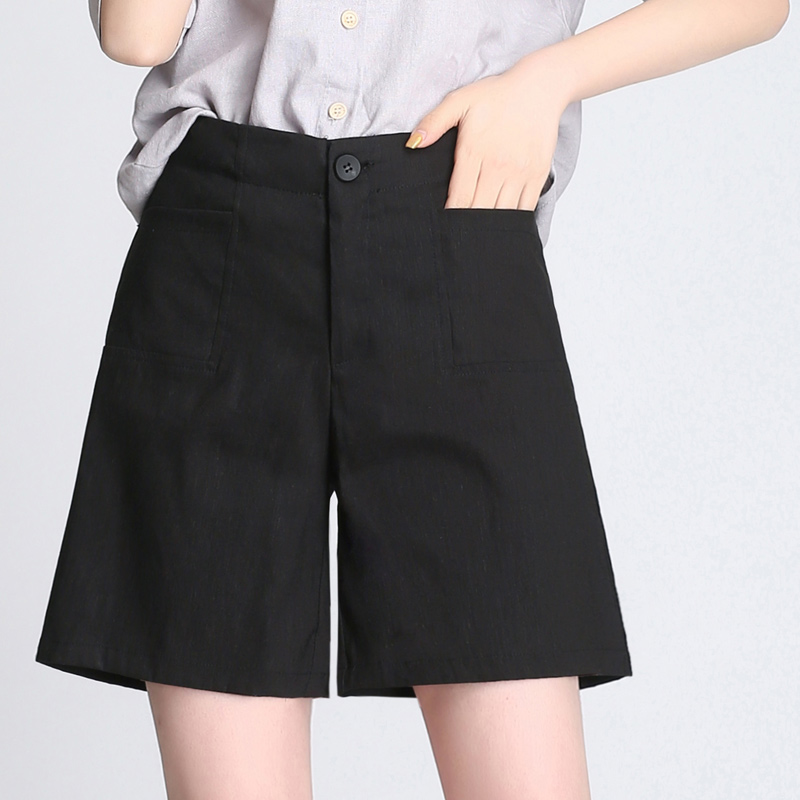 Moda Lino Estilo Diseño Mujeres La Simple Del caqui 55 Colores Mediados Nueva Elástica 3 Cortos Bolsillos Pantalones Vendimia Negro Tamaños azul De 2018 Más Cintura q1awX5O4x