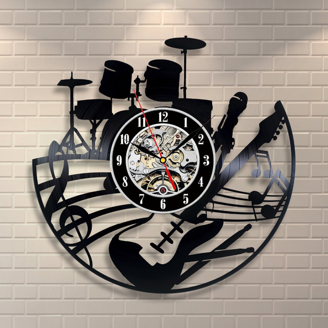 2017 Hot Music Vinyl Record Wall Clock Modern Design Art Wall Watch Creative Horloge Murale Classic Duvar Saati Wandklok