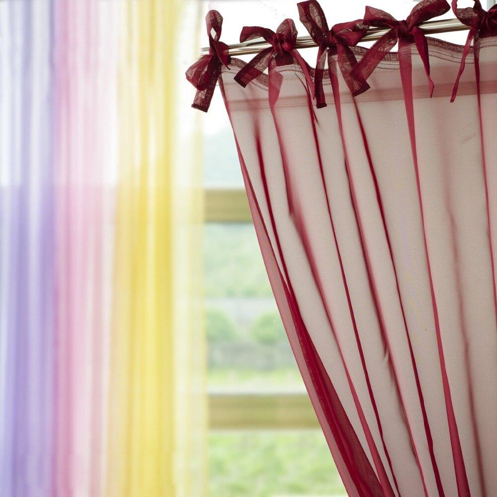 European style Tie Top Voile Tulle Sheer Gauze Blinds Curtain Window Screening Cafe Hotel Bed Mantle Bedroom Dividers Purdah
