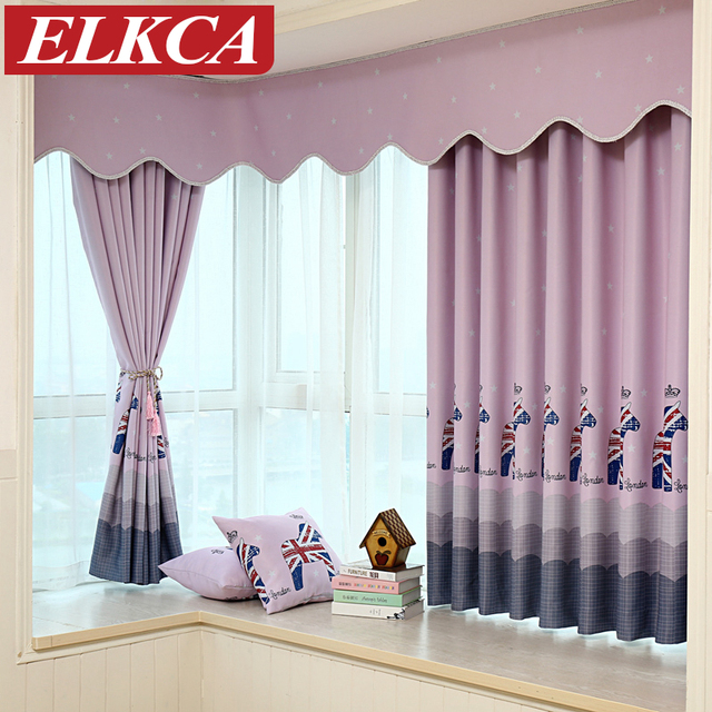 Horse Printed Cartoon Purple Blue Blackout Curtains For Living Room Short Kids Baby Bedroom
