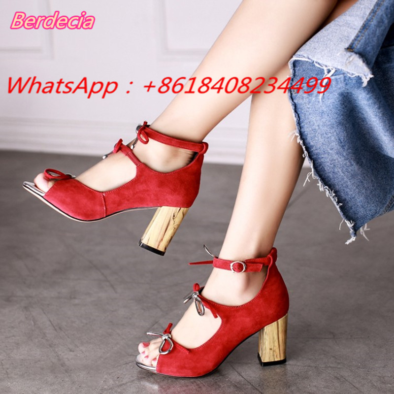 Ankle Strap Butterfly-knot Women Sandals Sexy Peep Toe High Heels Shoes Women Buckle Strap Square Heels Women Gladiator Shoes
