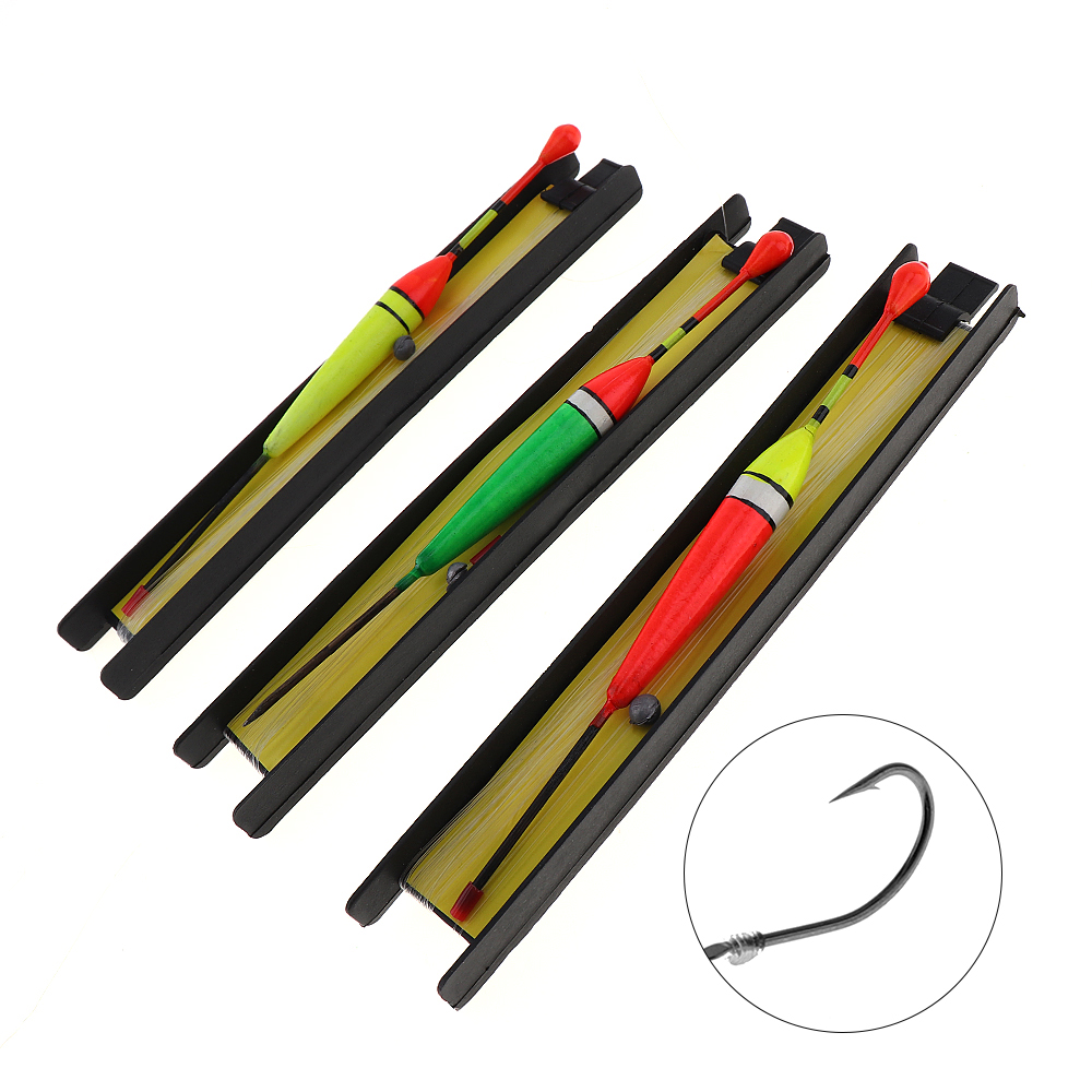 3 In 1 Professional 3pcs 5# / 7# / 9# Fishing Float Line Hook Set Fishing Float Pesca Fishing Tackle Tool with 6m Fishing Line