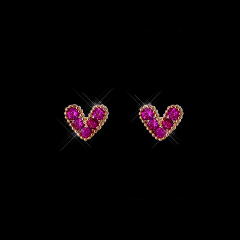 Fashion Rose Gold Color Small Love Heart Earrings For Women Girls Cute Purple Cubic Zircon Heart Stud Earrings Birthday Gifts