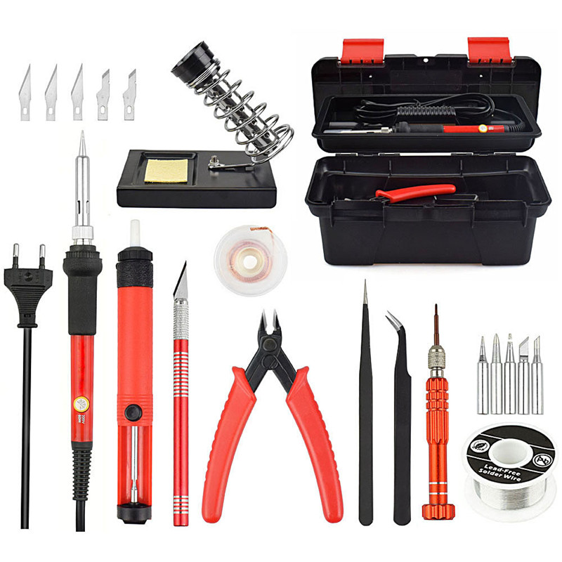 25pcs Red EU/US 220V 60W Adjustable Temperature Electrical Soldering Iron Kit SMD Welding Repair Tool Set Tool Box High Quality