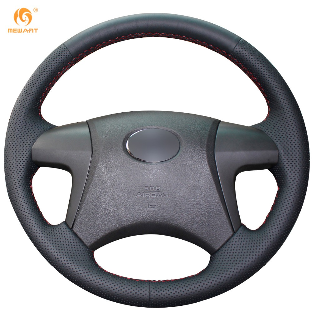 Mewant for toyota highlander toyota camry 2007 2011 black micro fiber artificial leather car steering