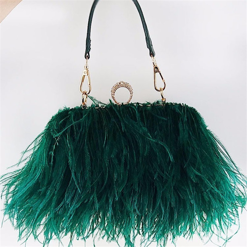 2018 real ostrich hair evening bag new design European style lady's chain bag feather clutch bag lemon design chain bag