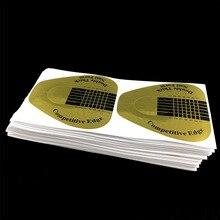Популярный 100 шт Гвоздь Набор золотистый акриловый УФ-лак Френч Советы Расширение строитель форма Руководство трафарет Маникюр Инструменты для ногтей