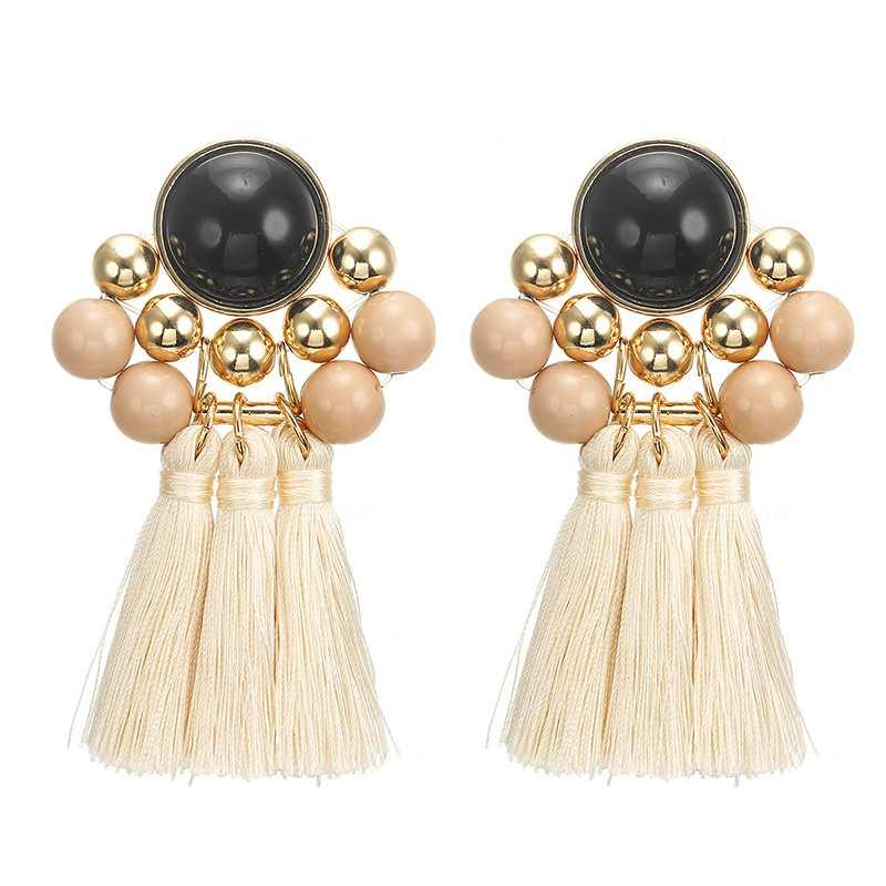 Fashion Ethnic Tassel Bohemian Drop Earrings for Women Girl Vintage Fringe Acrylic Beads Long Tassel Dangle Earring Jewelry Gift