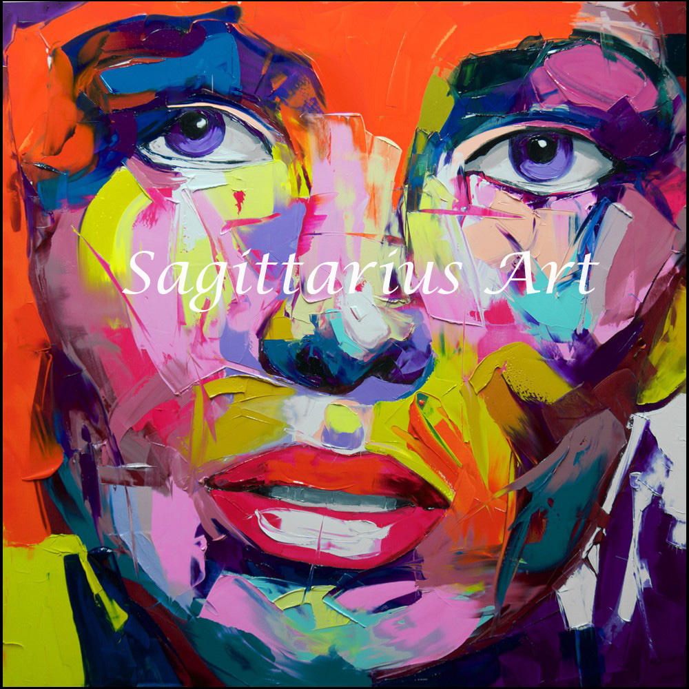 ჱhand painted palette knife abstract portraits handmade francoise