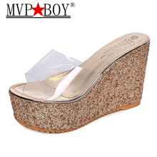 Mvp Boy Transparent clear crystal sequins platform wedge thick sole s high heels mules gold silver pink white beach