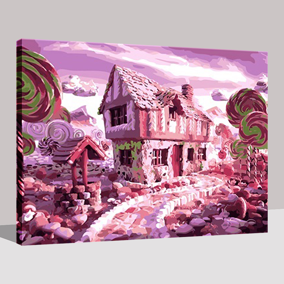 DIY Painting By Numbers Pink Lovely Castle Candy House Kits Coloring ...