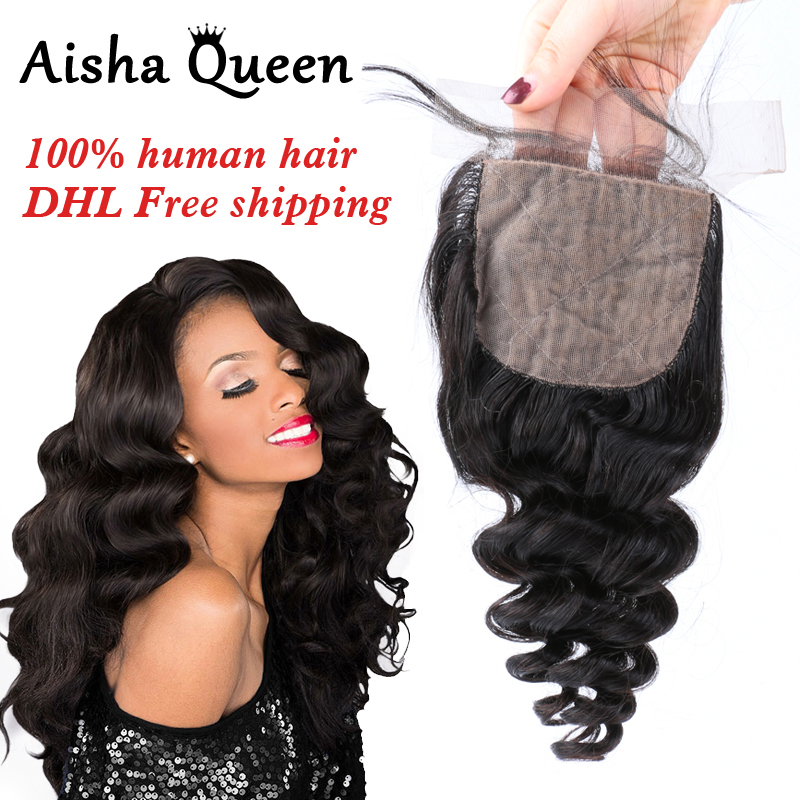 Aisha Queen Loose Wave Brazilian Human Hair 3 Bundles with 1 Silk Closure 4x4 Natural Black Remy Hair