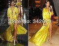 Ph02190 vestido amarillo satinado hendidura vestido gótico victoriano vestido Rihanna 2015 vestidos de baile Vestido de La Celebridad de la Alfombra Roja 2015