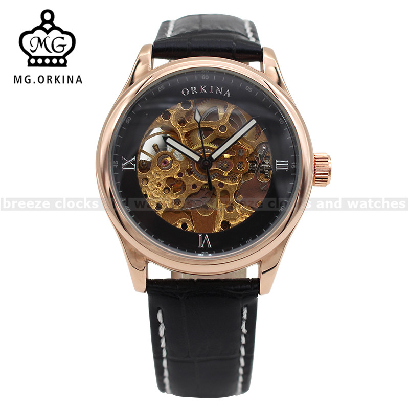 ORKINA Rose Gold Case Skeleton Watches Mens Top Brand Luxury Auto Mechanical Watch Male Wristwatches Erkek