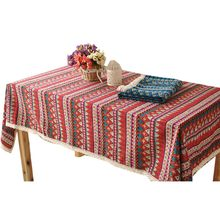 Red Blue Ethnic Style Geometric Patterns Cotton and Linen Tablecloth Southeast Asian Decor for Wedding Party Coffee Dining Table(China)