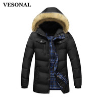 VESONAL 2017 Autumn Winter Jacket Men Hooded Coat Male Casual Coats Cotton Padded Waistcoat Fashion False