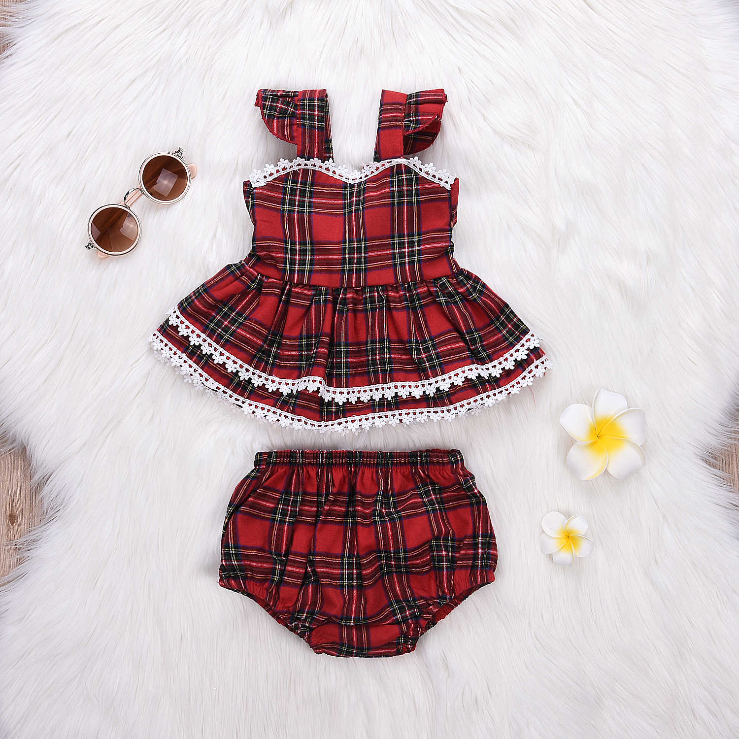 Cheap Baby Clothes Au Au Toddler Kids Baby Girls Outfits Clothes Red Plaid T Shirt Tops Dress Bottom Pants Set For 3 Month To 3 Years Yc
