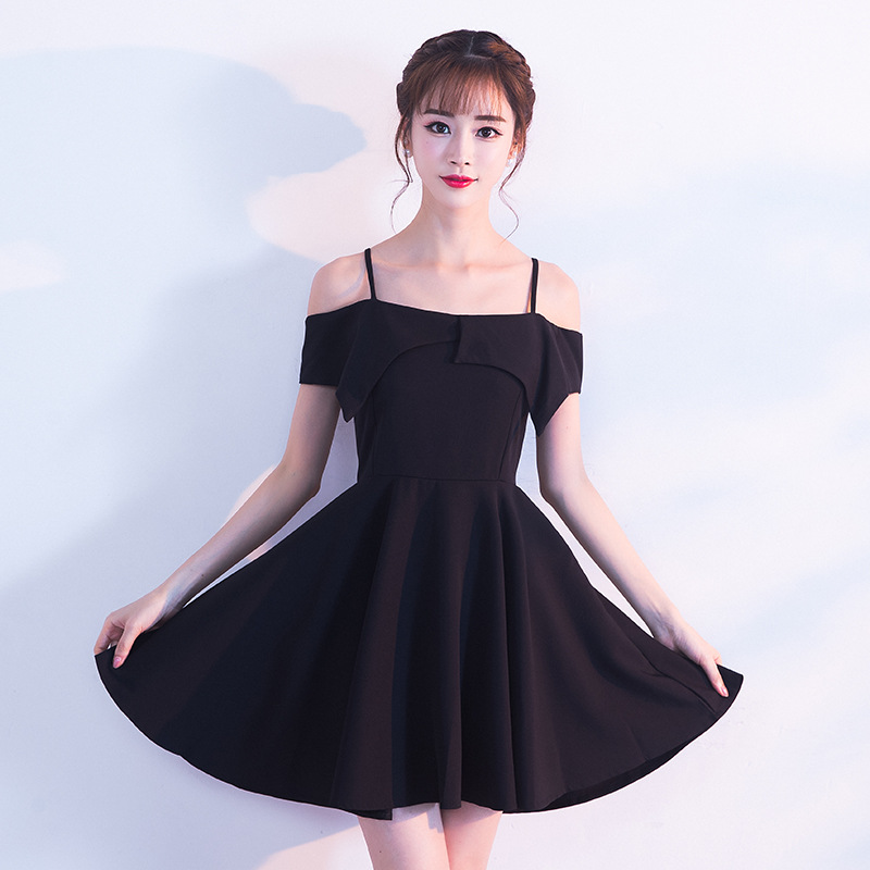 Новое поступление, элегантное, праздничное, вечернее платье, стрейчевое атласное платье для выпускного вечера, короткое черное платье