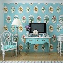 French romantic flower Non-woven wallpaper American pastoral wallpaper bedroom living room TV background Mediterranean