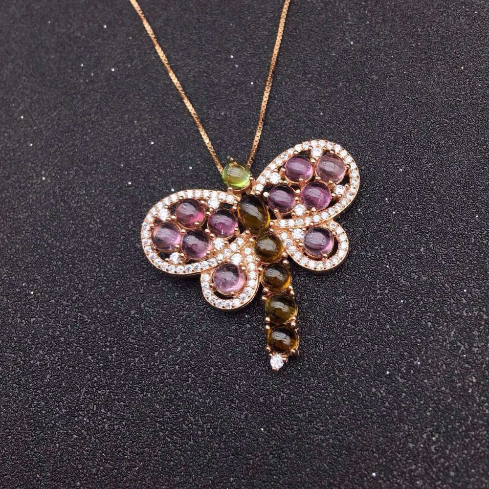 natural pink tourmaline pendant S925 silver Natural gemstone Pendant Necklace trendy Large butterfly women party jewelry