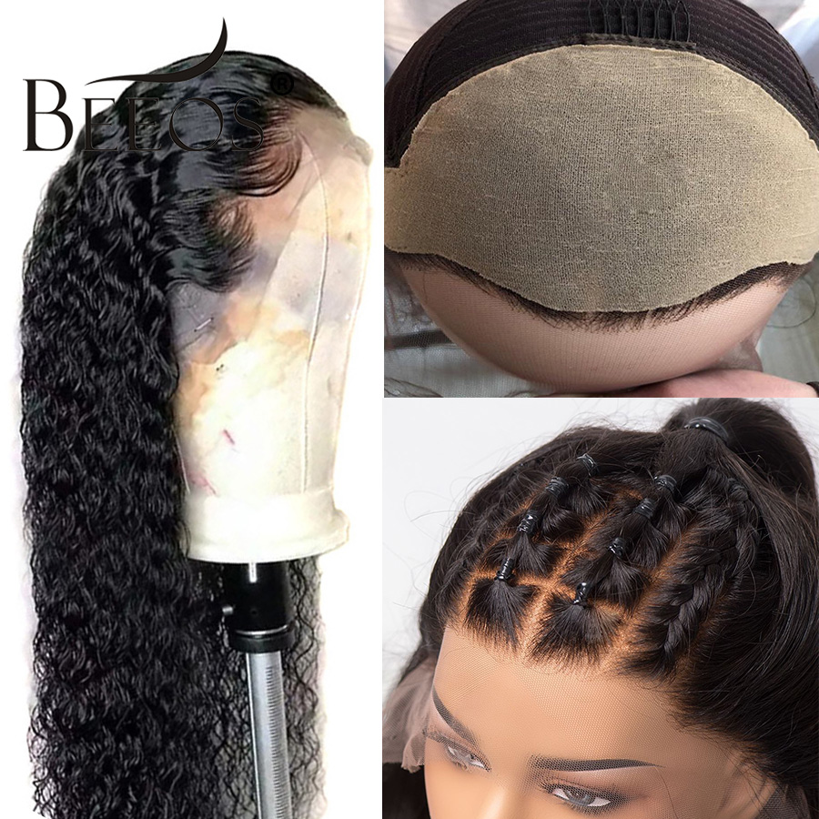 Beeos Fake Scalp Cap 13 6 Lace Front Human Hair Wigs For Women Black Pre Plucked