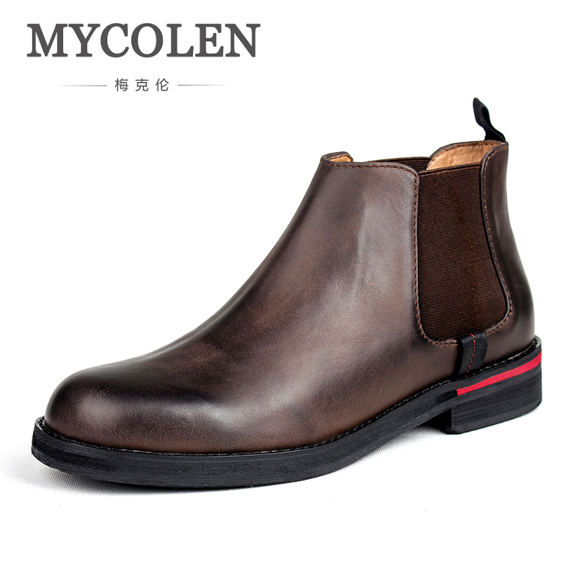 MYCOLEN New Men Boots Genuine Leather Sewing Thread Men Ankle Boots Luxury Designers Britain Style Shoes Leather Men Boots mycolen men boots genuine suede comfort leather sewing minimalist design black thread men ankle boots leather male shoes adult