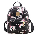 Women Backpack Fashion Causal Floral Printing Backpacks PU Leather Backpack For Teenagers Girls  Mochila Escolar School Bags