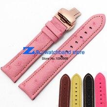 Икра подлинная кожаный ремешок для часов страуса зерна вахты пояса ремень наручные часы группа многоцветный 18 мм 20 мм 22 мм бабочка пряжка
