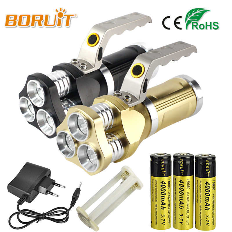 BORUIT XML T6 12000LM LED Flashlight Alloy Torch Rechargeable self defense Camping White light 18650 battery For Fishing Hunting 3800 lumens cree xm l t6 5 modes led tactical flashlight torch waterproof lamp torch hunting flash light lantern for camping z93
