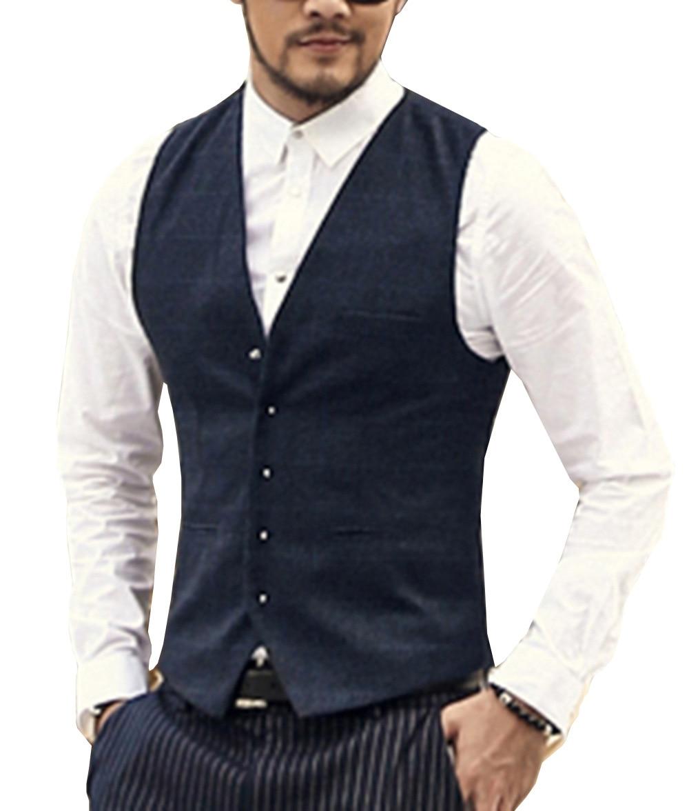 Mens Suit Vest Plaid Neck Wool Brown Single-breasted Slim Fit Casual Formal Business Groomman Waistcoat For Wedding Best Man