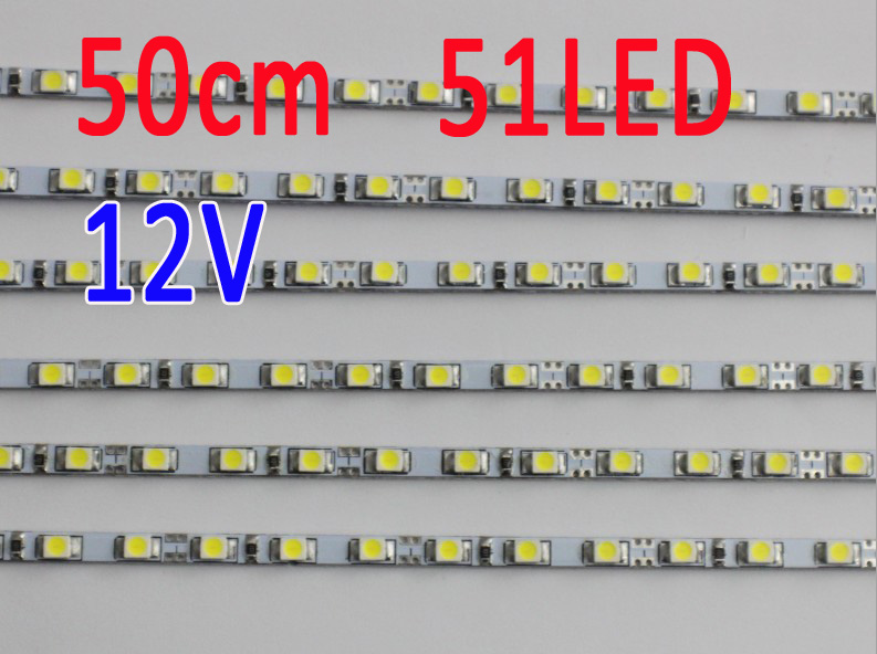 50CM  4mm Wide 51LED 12V DC Ultra Slim LED Rigid Bar Strip Light DIY Advertising Lightbox Lamp Aquarium Lighting Plant Growlight