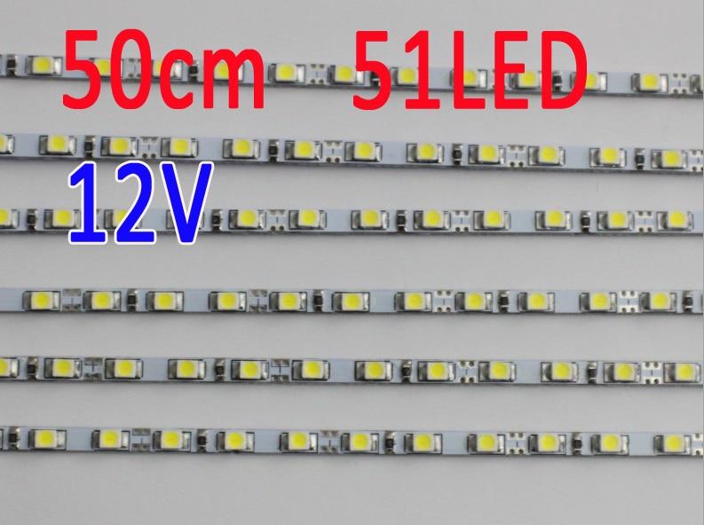 50CM  4mm Wide 51LED 12V DC Ultra Slim LED Rigid Bar Strip Light DIY Advertising Lightbox Lamp Aquarium Lighting Plant Growlight