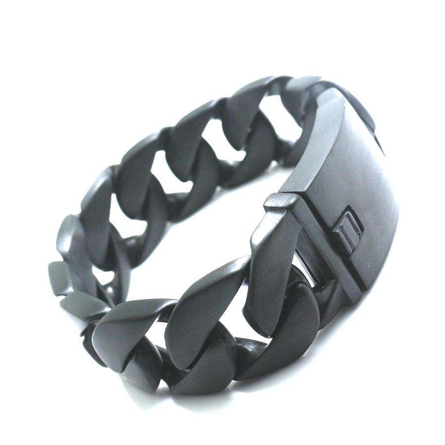 25 MM hommes garçons Bracelet noir bracelets 316L acier inoxydable polonais hommes Biker chaîne