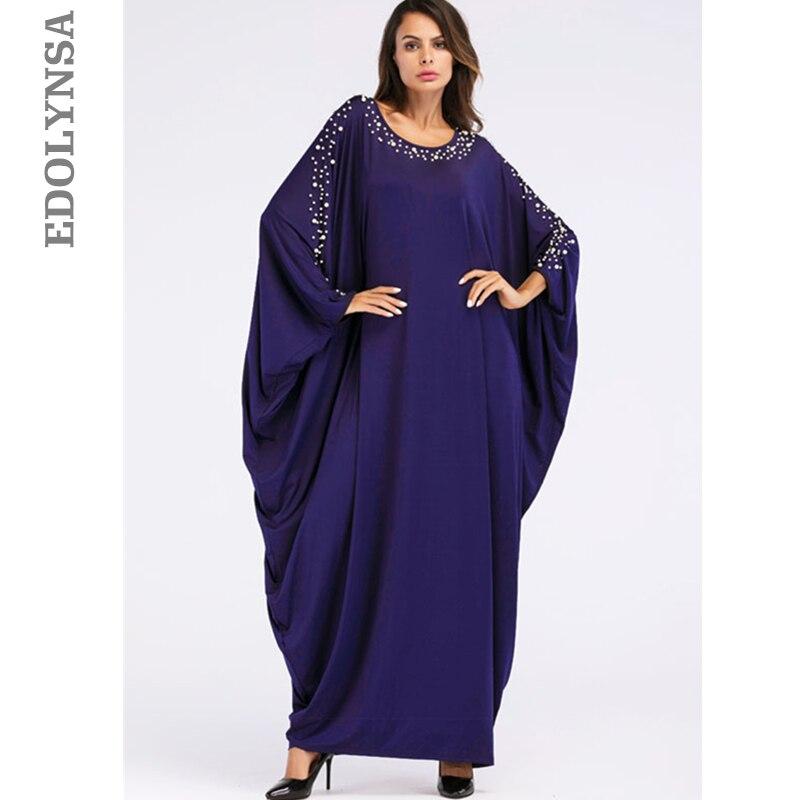 US $29.99 40% OFF|Oversize Dark Blue Pearl Cloak Sleeve Caftan Maxi Dress  Plus Size Women Clothes 2019 Kaftan Robe De Soiree Islamic Clothing D637-in  ...