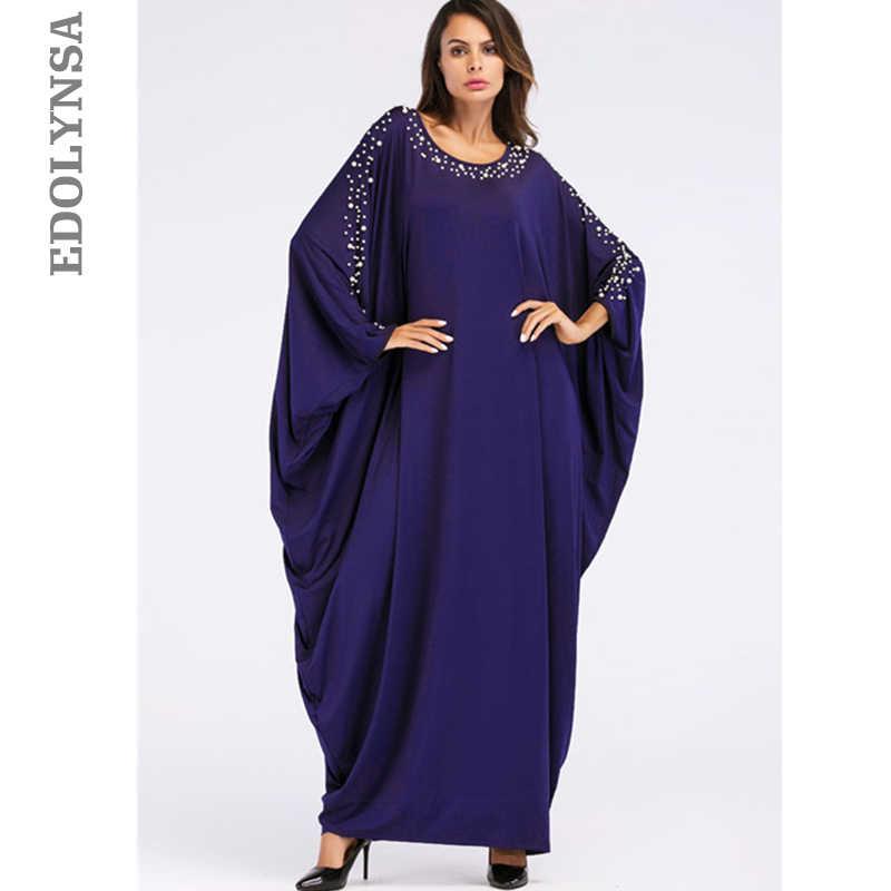 6db48f1fc8 Oversize Dark Blue Pearl Cloak Sleeve Caftan Maxi Dress Plus Size Women  Clothes 2019 Kaftan Robe