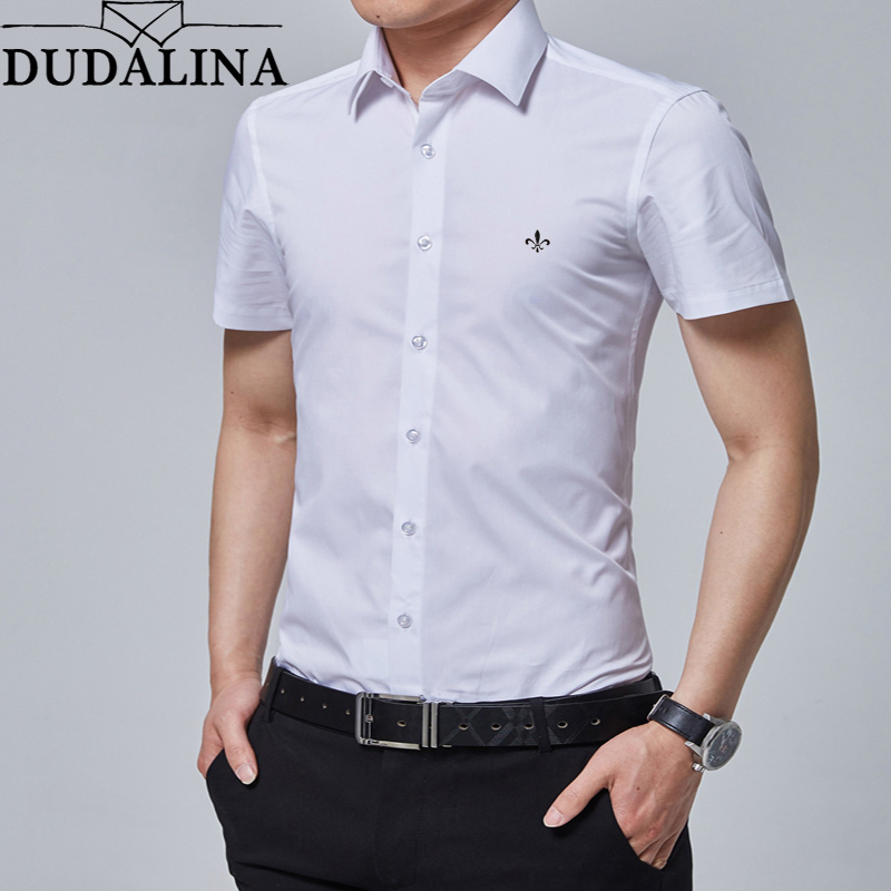 Dudalina Men Shirt 2019 Short Sleeve Formal Business Man Shirt Slim Fit Designer Dress Shirt Male Casual Brand Clothes Camisa